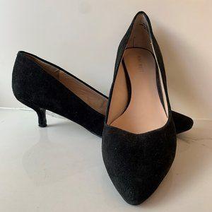Nine West black suede kitten heels